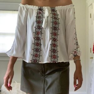 Off the shoulder elastic Embroidered Blouse